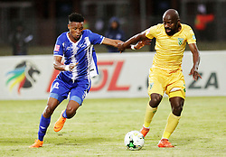 13052018 (Durban) Maritzburg player Pogiso Sanoka tackle with Sandile Zuke Maritzburg United drew 1-1 with Lamontville Golden Arrows in an Absa Premiership match at the Harry Gwala Stadium in Pietermaritzburg on Saturday afternoon.<br /> Picture: Motshwari Mofokeng/African News Agency/ANA