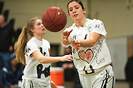 Rice senior Rachel Chicoine takes the court for warm ups during the girls basketball game between the Burlington Sea Horses and the Rice Green knights at Rice Memorial high school on Thursday night February 18, 2016 in South Burlington. (BRIAN JENKINS/for the FREE PRESS)