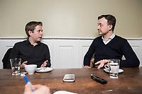 19 MAR 2018, BERLIN/GERMANY:<br /> Kevin Kuehnert (L), SPD, Bundesvorsitzender der Jusos, und Paul Ziemiak (R), MdB, CDU, Bundesvorsitzender der Jungen Union, waehrend einem gemeinsamen Interview, Restaurant Habel am Reichstag<br /> IMAGE: 20180319-01-013<br /> KEYWORDS: Kevin K&uuml;hnert