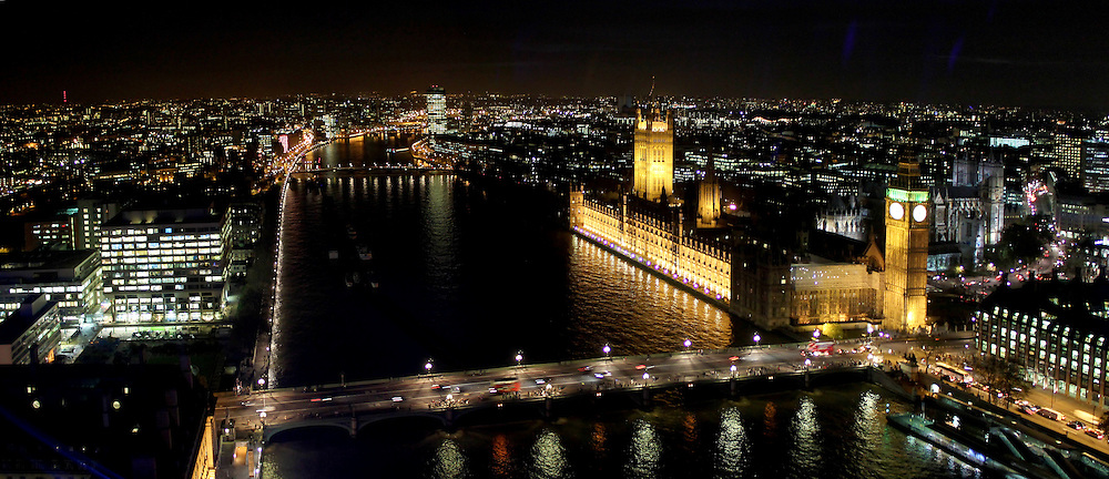 Thames, Palace of Westminster, Big Ben and Houses of Parliament at night (Panoramic photo). London