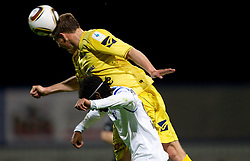 William Franklin Vicente of Gorica vs Ivan Knezovic of Domzale during football match between NK Domzale and HIT Gorica of 25th Round of PrvaLiga, on April 1, 2011, in Sports park Domzale, Slovenia. (Photo by Vid Ponikvar / Sportida)