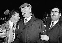 A disgusted Jack Charlton at the Ireland v England at Landsdowne Road. Following the Irish goal a riot erupted and the game was abandoned.  15/2/1995 (Part of the Independent Newspapers Ireland/NLI Collection)