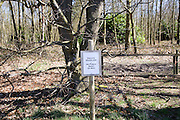 Sign for private woodland with no public right of way, Sutton, Suffolk, England