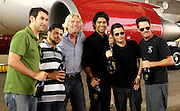 (L-R) Doug Ellin, Jerry Ferrara, Sir Richard Branson, Adrian Grenier, Kevin Connolly and Kevin Dillon pose as Virgin America launches JFK-Las Vegas Service with 'Entourage' Airbus A320 at JFK Airport in New York City in New York City, USA on September 4, 2008.