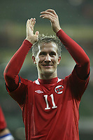 Football - International Friendly - Ireland vs. Norway<br /> Norway's Morten Gamst Pederson applauds the travelling fans at the Aviva Stadium, Dublin