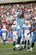 NASHVILLE, TN - DECEMBER 3:  Wide receiver Brandon Jones #81 of the Tennessee Titans celebrates by taking a goal post jump shot after scoring a touchdown on a nine yard pass reception against the Indianapolis Colts at LP Field on December 3, 2006 in Nashville, Tennessee. The Titans defeated the Colts 20-17. ©Paul Anthony Spinelli *** Local Caption *** Brandon Jones