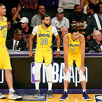 10 October 2017: Los Angeles Lakers center Brook Lopez (11), Los Angeles Lakers guard Tyler Ennis (10), and Los Angeles Lakers forward Larry Nance Jr. (7) are seen during the Utah Jazz 105-99 victory over the LA Lakers, at the Staples Center, Los Angeles, California, USA.