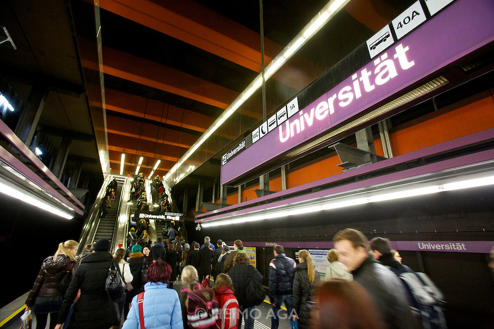Universities in Vienna, Austria..U2 subway station Universität.