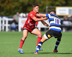 Callum Sheedy of Bristol United tackles Josh Lewis of Bath United - Mandatory by-line: Paul Knight/JMP - 16/09/2017 - RUGBY - Hornets RFC - Weston-super-Mare, England - Bristol United v Bath United - Aviva A League