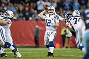 NASHVILLE, TN - DECEMBER 30:  Andrew Luck #12 of the Indianapolis Colts throws a pass during a game against the Tennessee Titans at Nissan Stadium on December 30, 2018 in Nashville, Tennessee.  The Colts defeated the Titans 33-17.   (Photo by Wesley Hitt/Getty Images) *** Local Caption *** Andrew Luck