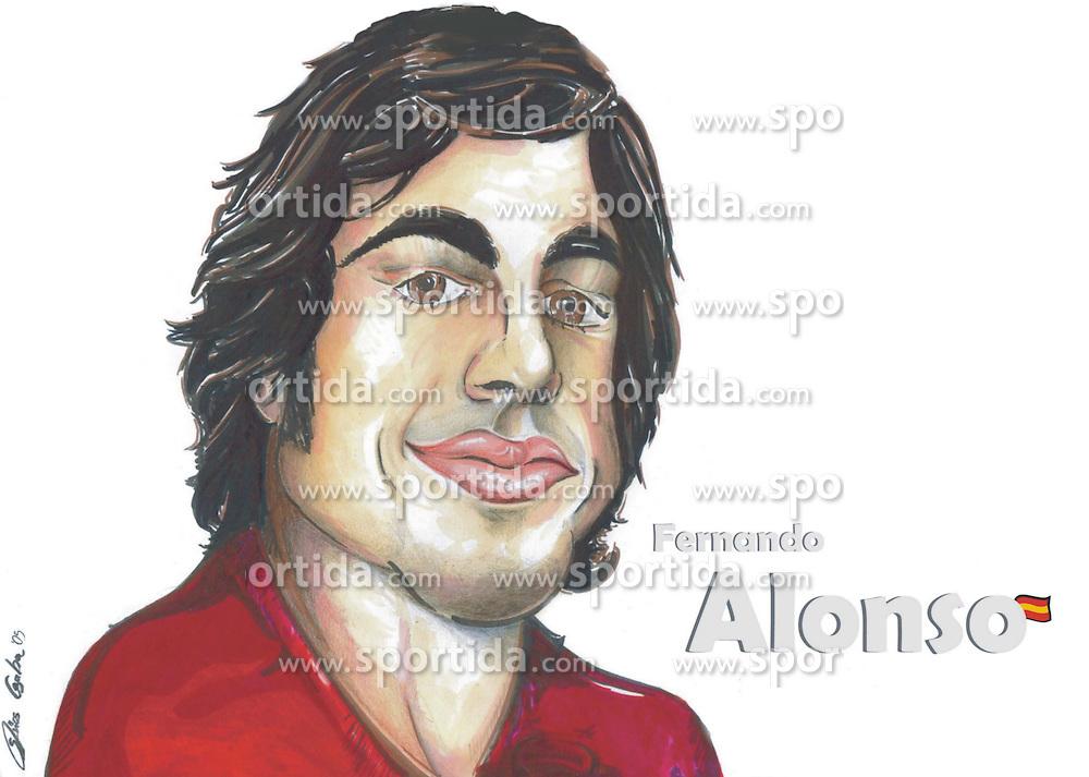 FORMEL 1: Saison 2010, Karrikatur von<br /> Fernando ALONSO (ESP, Ferrari)<br /> &Atilde;'&Acirc;&copy; pixathlon