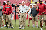 FAYETTEVILLE, AR - MARCH 6:   Head Coach Chad Morris of the Arkansas Razorbacks watches the team warm up before the annual Spring Game at Razorback Stadium on March 6, 2019 in Fayetteville, Arkansas.  (Photo by Wesley Hitt/Getty Images) *** Local Caption *** Chad Morris