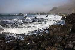 Waves crash on a rocky shore, near Stinson Beach and Slide Ranch, Golden Gate National Recreation Area, Muir Beach, California, United States of America