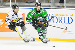 24.12.2014, Republic Square, Ljubljana, SLO, EBEL, HDD Telemach Olimpija Ljubljana vs EC Dornbirn, 30. Runde, in picture Chris D'Alvise (EC Dornbirn, #15) and Gregor Koblar (HDD Telemach Olimpija, #20) during the Erste Bank Icehockey League 30. Round between HDD Telemach Olimpija Ljubljana and EC Dornbirn on Republic Square, Ljubljana, Slovenia on 2014/12/16. Photo by Urban Urbanc / Sportida