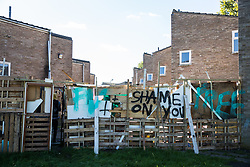 London, UK. 23 September, 2015.  A barricade erected by housing activists around the home of the last surviving resident on the Sweets Way housing estate. A group of housing activists calling for better social housing provision in London occupied properties on the 142-home estate in Whetstone in order to try to prevent the eviction of Mostafa Aliverdipour, the estate's last surviving resident, and the planned demolition and redevelopment of the entire estate by Barnet Council and Annington Property Ltd.