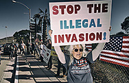 Demonstrators chant during an America First rally at the San Ysidro Port of Entry along the United States-Mexico border in San Ysidro, California on Saturday, December 15, 2018.