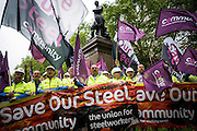 UNITED KINGDOM, London:  Hundreds of steelworkers from across the UK march through Westminster to keep up pressure for government help for their industry as the British steel industry declines in London, on May 25, 2016. Pic by Andrew Cowie / Story Picture Agency