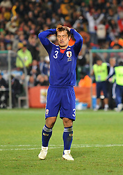 29.06.2010, Loftus Versfeld Stadium, Pretoria, RSA, FIFA WM 2010, Paraguay (PAR) vs Japan (JPN), im Bild Yuichi Komano (Giappone) si dispera per il rigore sbagliato.. EXPA Pictures © 2010, PhotoCredit: EXPA/ Sportida/ Vid Ponikvar +++ Slovenia OUT +++ / SPORTIDA PHOTO AGENCY