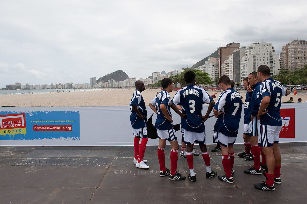 The Homeless World Cup is an annual, international football tournament, uniting teams of homeless people from 60 nations to change their lives. Copacabana. Rio de Janeiro. Brazil