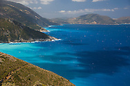 A view of the sea and coast from the island of Ithaca, The Ionian Islands, Greece