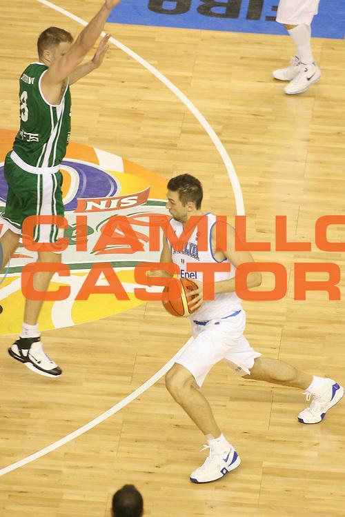 DESCRIZIONE : Alicante Spagna Spain Eurobasket Men 2007 Italia Slovenia Italy Slovenia <br /> GIOCATORE : Andrea Bargnani <br /> SQUADRA : Nazionale Italia Uomini Italy <br /> EVENTO : Eurobasket Men 2007 Campionati Europei Uomini 2007 <br /> GARA : Italia Slovenia Italy Slovenia <br /> DATA : 03/09/2007 <br /> CATEGORIA : Penetrazione <br /> SPORT : Pallacanestro <br /> AUTORE : Ciamillo&amp;Castoria/G.Ciamillo <br /> Galleria : Eurobasket Men 2007 <br /> Fotonotizia : Alicante Spagna Spain Eurobasket Men 2007 Italia Slovenia Italy Slovenia <br /> Predefinita :