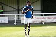 Forest Green Rovers Manny Monthe(3) warming up during the Pre-Season Friendly match between Shortwood United and Forest Green Rovers at Meadowbank Ground, Nailsworth, United Kingdom on 14 July 2017. Photo by Shane Healey.