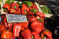 Red peppers for sale in a french market