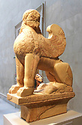 Marble sphinx on a cavetto capital. Greek, Attic, Archaic. ca. 580–575 B.C. Stone Sculpture