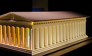 Greek temple from Lego building blocks at the Holon Children's museum. Holon, Israel
