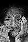 Portray of a very elderly woman. Kinikinau indigenous People, Mato Grosso do Sul State, Brazil.