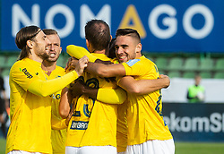 Players of Bravo celebrate after scoring first goal during football match between NK Bravo and NK Celje in 13th Round of Prva liga Telekom Slovenije 2019/20, on October 5, 2019 in ZAK stadium, Ljubljana, Slovenia. Photo by Vid Ponikvar / Sportida