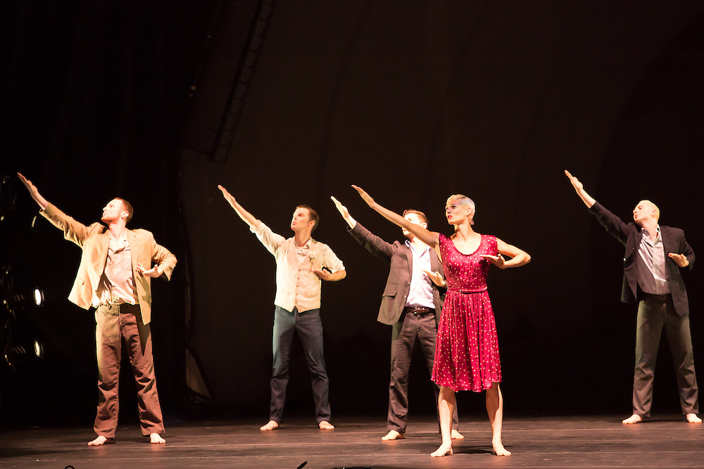 "The corps de ballet in the role of a Greek chorus in Barak Marshall's ""Harry""."