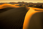 Warm light bathes the Stovepipe Wells sand dunes in Death Valley National Park, California.