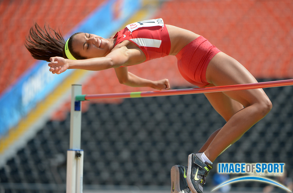 Jul 10, 2013; Donetsk, UKRAINE; Alexa Harmon-Thomas (USA) clears 5-9 3/4 (1.77m) in the womens high jump qualifying to advance in the 2013 IAAF World Youth Championships at Olimpiyskyi Stadium.