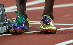 London, 2017-August-04. Usain Bolt's golden spikes at the IAAF World Championships London 2017. Paul Davey.