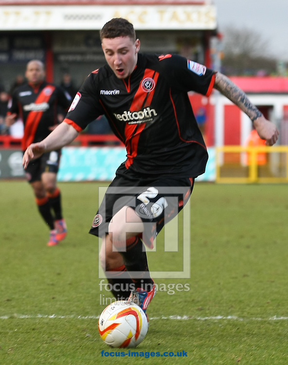 Picture by David Horn/Focus Images Ltd +44 7545 970036.16/03/2013.Callum McFadzean of Sheffield Utd during the npower League 1 match at the Lamex Stadium, Stevenage.