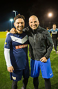 Celebrity chef George Calombaris has lost 22ks after an urgent health regimen<br /> Which included eating better, running and playing local soccer with his old mates. Pictured here with Steven Messina<br /> Photo By Craig Sillitoe