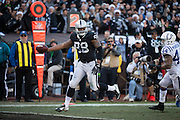Oakland Raiders tight end Clive Walford (88) carries the ball into the end zone for a touchdown against the Indianapolis Colts at Oakland Coliseum in Oakland, Calif., on December 24, 2016. (Stan Olszewski/Special to S.F. Examiner)