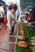 Laos. Luang Prabang. Morning market. Grilled fish.