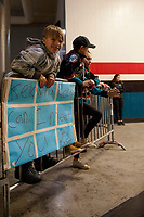KELOWNA, CANADA - DECEMBER 30: A young fan awaits the Kelowna Rockets' walk to the ice against the Victoria Royals on December 30, 2017 at Prospera Place in Kelowna, British Columbia, Canada.  (Photo by Marissa Baecker/Shoot the Breeze)  *** Local Caption ***