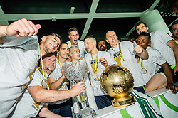 Rok Kronaveter of NK Olimpija, Branko Ilic of NK Olimpija, Stefan Savic of NK Olimpija, Andres Vombergar of NK Olimpija, Nik Kapun of NK Olimpija Ljubljana,  Tomislav Tomic of NK Olimpija, Abass Issah of NK Olimpija, Dino Stiglec of NK Olimpija celebrate with a trophy after winning during football match between NK Aluminij and NK Olimpija Ljubljana in the Final of Slovenian Football Cup 2017/18, on May 30, 2018 in SRC Stozice, Ljubljana, Slovenia. Photo by Vid Ponikvar / Sportida