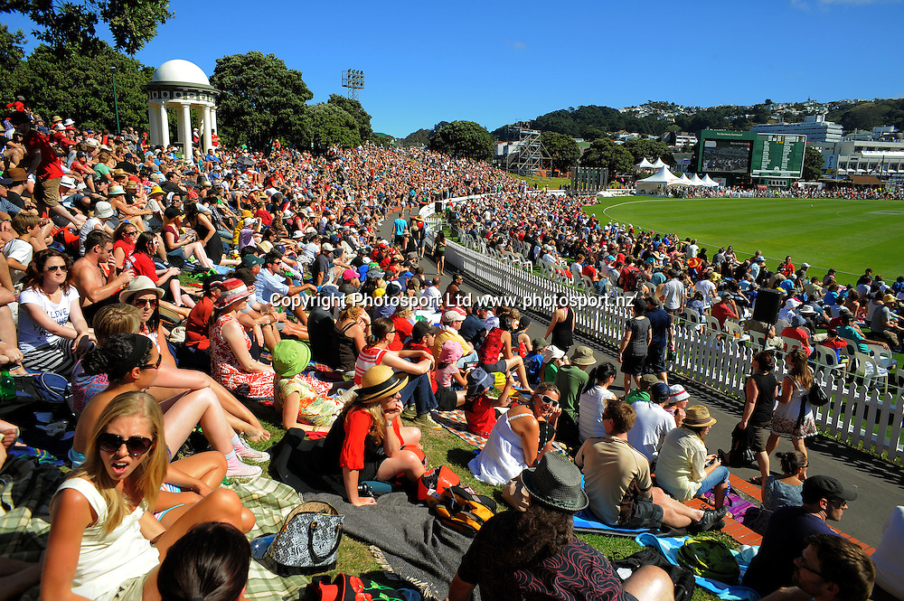A general view of the embankment. Fill The Basin for Christchurch fundraising cricket match - Canterbury Invitational XI v Wellington Legends XI  at Hawkins Basin Reserve, Wellington, New Zealand on Sunday, 13 March 2011. Photo: Dave Lintott / lintottphoto.co.nz