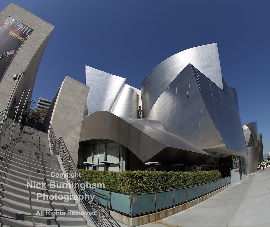 LOS ANGELES, CA - MARCH 2, 2012 - A fisheye view of the Walt Disney Concert Hall in Los Angeles, California on March 2nd, 2012.  The building was deisgned by Frank Gehry and opened on October 24th, 2003.