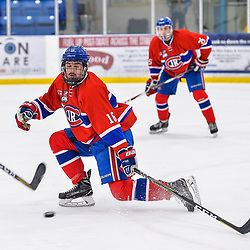 OAKVILLE, ON  - FEB 23,  2018: Ontario Junior Hockey League game between the Oakville Blades and the Toronto Jr. Canadiens, Matthew O'Brien #16 of the Toronto Jr. Canadiens blocks a shot during the first period.<br /> (Photo by Ryan McCullough / OJHL Images)