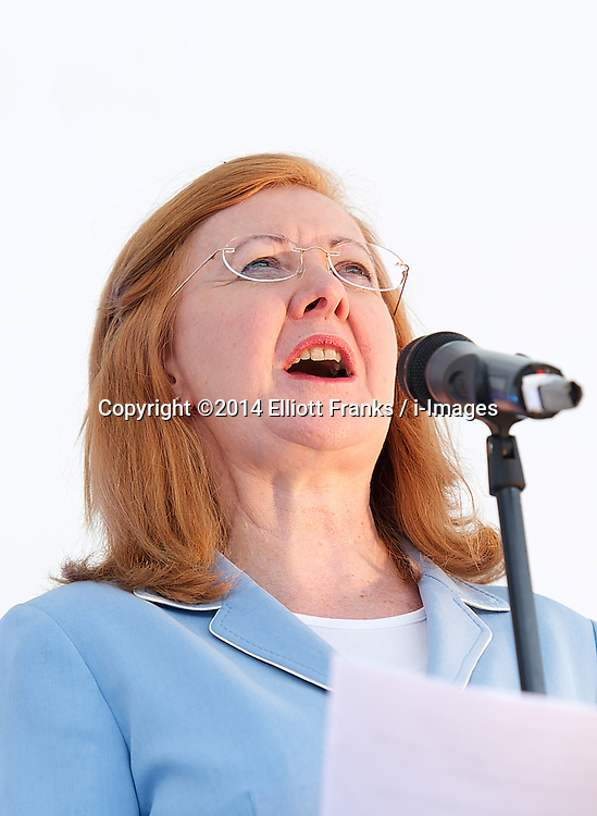 Deputy Mayor of London Lady Victoria Borwick speaking at the Feast of St. George celebrations. Trafalgar Square, London, United Kingdom. Monday, 21st April 2014. Picture by Elliott Franks / i-Images