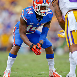 Oct 12, 2013; Baton Rouge, LA, USA; Florida Gators defensive back Jaylen Watkins (14) against the LSU Tigers during the second half of a game at Tiger Stadium. LSU defeated Florida 17-6. Mandatory Credit: Derick E. Hingle-USA TODAY Sports