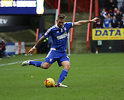 Ipswich defender and captain Luke Chambers lanching an attack during the Sky Bet Championship match between Charlton Athletic and Ipswich Town at The Valley, London, England on 28 November 2015. Photo by Matthew Redman.