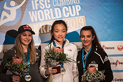 RAKOVEC Lucka, SEO Chaehyun, PILZ Jessica celebrating podium ceremony after Finals IFSC World Cup Competition in sport climbing Kranj 2019, on September 29, 2019 in Arena Zlato polje, Kranj, Slovenia. Photo by Peter Podobnik / Sportida