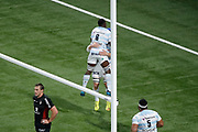 Wenceslas LAURET (Racing Metro 92) scored a try, celebration with Yannick NYANGA KABASELE (Racing Metro 92) during the French Championship Top 14 Rugby Union match between Racing 92 and Stade Toulousain on December 22, 2017 at U Arena in Nanterre, France - Photo Stephane Allaman / ProSportsImages / DPPI