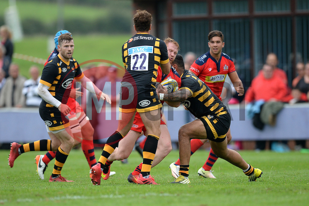 Will Hurrell of Bristol Rugby is challenged - Mandatory by-line: Dougie Allward/JMP - 27/08/2016 - RUGBY - Clifton RFC - Bristol, England - Bristol Rugby v Wasps - Pre-season friendly
